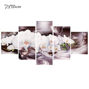 5pcs/set Modern Flower Abstract Art Canvas Oil Painting Home White Lotus Pattern Living Room Bedroom Wall Picture Decor Gift
