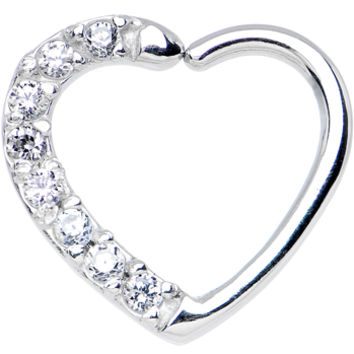16 Gauge Clear CZ Heart Right Closure Daith Cartilage Tragus Earring | Body Candy Body Jewelry