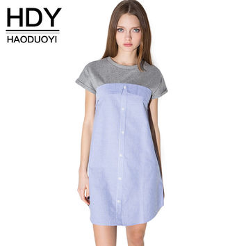 HDY Haoduoyi 2016 Summer Fashion Womens Casual Short Sleeve Single Buttons Down Striped Slim Shirt Dress