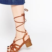 ASOS TIME OUT Lace Up Heeled Sandals