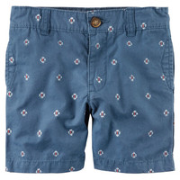 Printed Canvas Shorts
