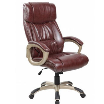 Brown Padded High Back PU Leather Ergonomic Office Chair with Back  And Arms Support