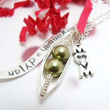 Peas in a Pod Necklace with Personalized Tag and Mom Charm
