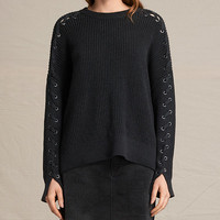 ALLSAINTS UK: Womens Aria Laced Jumper (Cinder Black Marl)