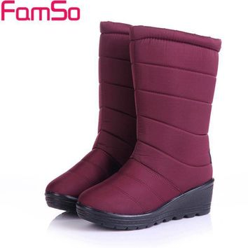 FAMSO Women's Boots Mid-Calf Riding Waterproof Keep Warm  Down Snow Boots