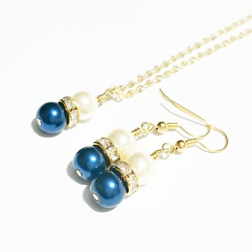 Bridesmaid Necklace Set / Pearl Gold Tone Necklace Set / Blue Wedding / Bridesmaid Jewelry / Pearl Earrings / Jewelry Set / Navy and Ivory