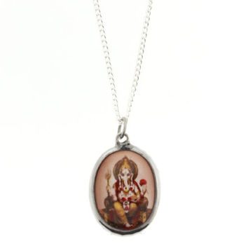 Ganesh Image On A Brown Background Enamel Oval Pendant - Size: 1.25 x 1 Inches - Necklace Included