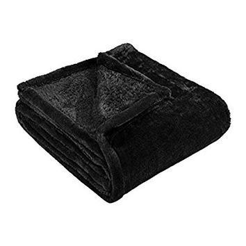 "Superior Ultra-Plush Fleece Blankets, Thick, Cozy, and Warm Premium Quality Fleece, Velvety Soft Bed Blankets and Throws - 90"" x 90"" Full/Queen Blanket, Black"