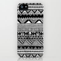 Black White Cute Girly Urban Tribal Aztec Andes Abstract Geometric Hand-drawn Pattern iPhone & iPod Case by hyakume