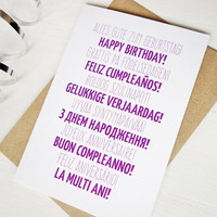 Happy Birthday many languages purple birthday card swedish french italian