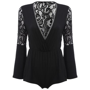 Chic Plunging Neck Flare Sleeve Lace Spliced Pure Color Sheath Women Romper