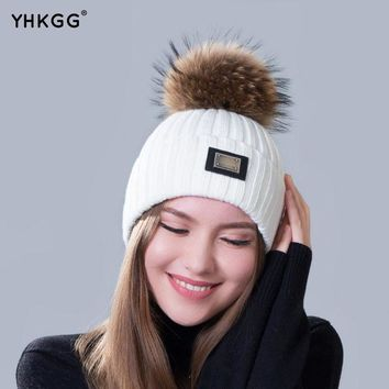 PEAPUNT 2016 new knitted hat fashion Women big Real Raccoon Fur pom pom Caps Crochet Hats For Women Winter Cute Casual Cap Women Beanies