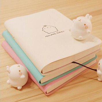 2017-2018 Cute Kawaii Notebook Cartoon Molang Rabbit Journal  Diary Planner Notepad for Kids Gift Korean Stationery Three Covers