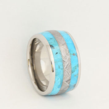 Titanium Wedding Band, Anniversary Ring or Custom Wedding Ring Striped Turquoise and Meteorite Ring