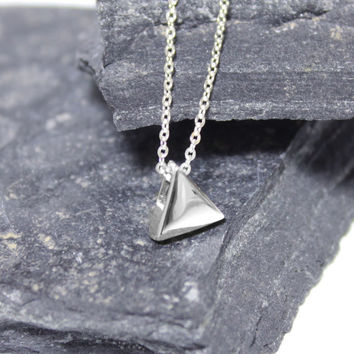 Silver Triangle Necklace/ Silver Handmade Triangle Necklace/ Sterling Silver Triangle Necklace/ Pendant Necklace/ Silver Simple Necklace