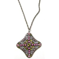 Anne Koplik Designs Sterling Silver Plated Necklace with Pink and Khaki Swarovski Crystals, 24""