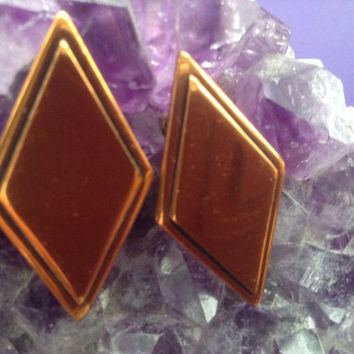 Rebajes Copper Geometric Earrings 50s Diamond Shape Mid-Century Rare Signed Large Jewelry Wearable Art Collectible Clips