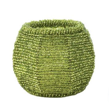 Lime Green Beaded  Candle Holder