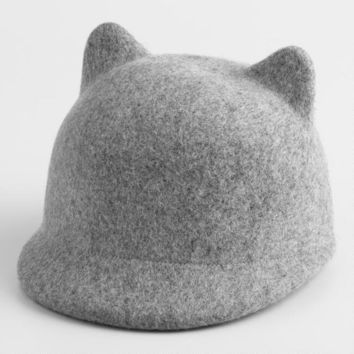 Gray Felt Cat Ear Bowler Hat