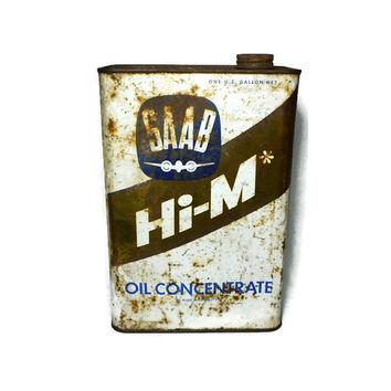 Rare 1960's Saab Hi-M Oil Concentrate, One Gallon Square Tin Can, Collectible Gas Oil Automotive Advertising, 1966