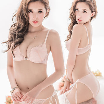 Free shipping 2016 push up adjustable bra set sexy deep V-neck young girl underwear button front bra set