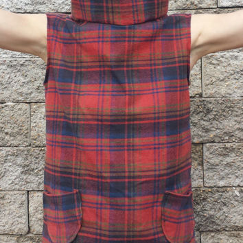 Plaid Cowl Neck Sleeveless Cotton Top with Pockets