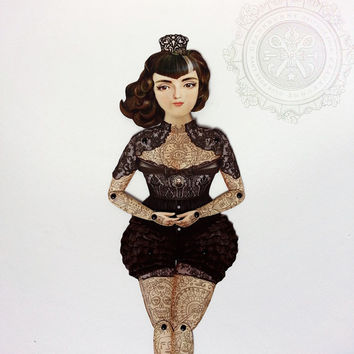 Victorian Tattooed Paper Doll Puppet - Dona Alicia, A Gothic Spanish Widow who is a huge Smiths, Morrissey fan.