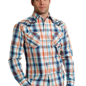 Roper Mens 9532 Sporty Plaid Performance None Long Sleeve Shirt Snap Closure - 2 Pocket
