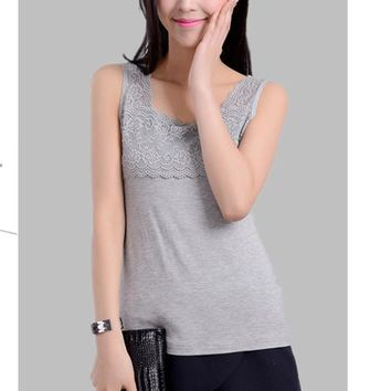 summer women new lace collar modal cotton Soft comfortable wide straps all-match Camisole tanktops Basic models bottoming vest