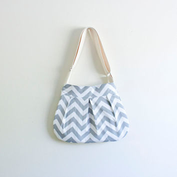 grey chevron purse // pleated zipper cross body bag // ipad bag // grey zigzag // made to order // the charlie bag