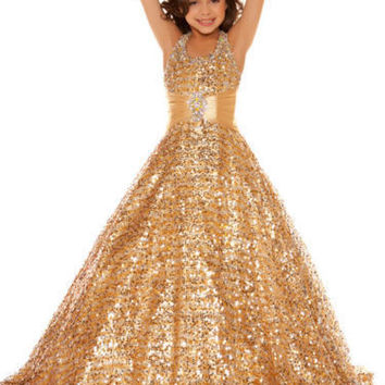 Girls Pageant Dresses 2016 Ball Gown Halter Squins Beaded Gold Sparkle Cute Little Flower Girl Dresses For Wedding