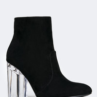 Clear Heel Ankle Bootie