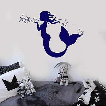 Vinyl Wall Decal Mermaid Marine Decor Nursery Kids Room Stickers Unique Gift (ig3872)