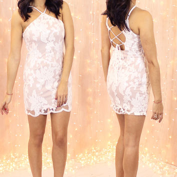 'Bright Spark' Mesh & Sequin Mini Dress with Lace Up Back in White
