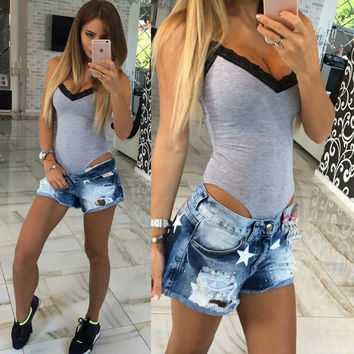 Women Sexy bodycon Jumpsuit Rompers Sleeveless Lace Bodysuit Women Clothing V-neck Skinny Overalls Plus size LJ4946M