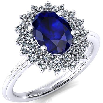 Eridanus Oval Blue Sapphire 4 Prong Diamond Cluster Halo Engagement Ring