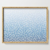 Gradient blue and white swirls doodles Serving Tray by savousepate