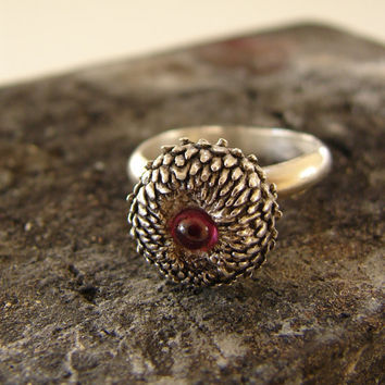 Acorn Ring with Rhodonite Woodland Series Sterling by Nafsika