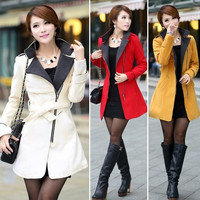 Women Woolen Warm Winter Long Coat Jacket Trench Slim Fit With Belt SV006432 = 1745481668