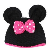 KeeBaby Mouse Pink Bow Knitted Crochet Baby Hat For Girl Beanie Cute