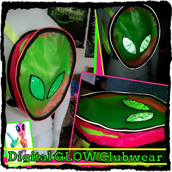 Rainbow Reflective Alien UV Vinyl backpack bag