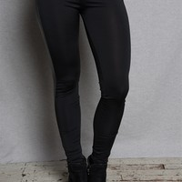 Cotton Candy Faux Leather Tuxedo Stripe Side Panel Stretch Leggings - Black