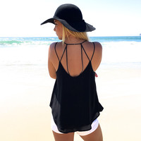 Bind Us Together Woven Tank In Black