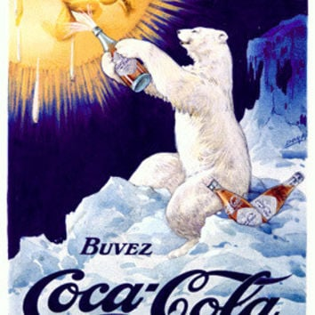 Coca Cola French Polar Bear Ad Fine Art Print