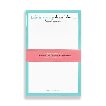 Life Is A Party, Dress Like It Scribble Notepad Set Of 3