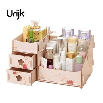 Urijk Wooden Office Table Storage Box Jewelry Container Makeup Organizer Case Handmade DIY Assembly Cosmetic Organizer Wood Box