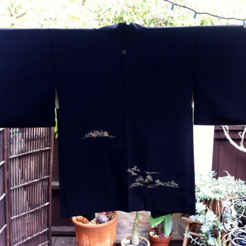 SALE-Embroidered Haori, Japanese Kimono, Silk Robe- Pine Tree & Hut H12