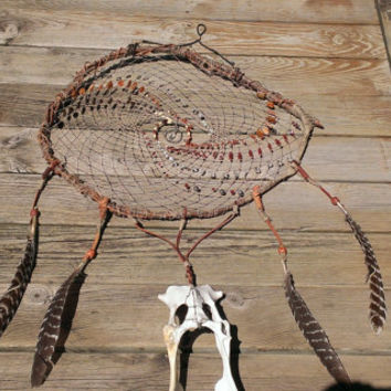 Tribal Bone Dream Catcher - Skull Artwork - Taxidermy Oddities - Evil Eye Dream Catcher