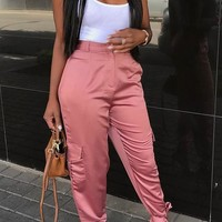 Pink Pockets Ribbons Zipper High Waisted Fashion Long Pants