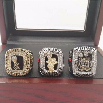 Miami Heat  2006, 2012, 2013 NBA championship rings sets with Wooden Boxes
